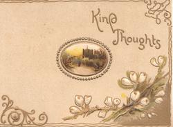 KIND THOUGHTS in gilt, small oval rural church inset, stylised white wild roses