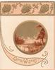 GOOD WISHES in gilt on pink plaque watery evening rural inset with stag, pink & gilt design above
