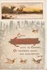 COMES CHRISTMAS on gilt plaque, rural inset with lighted church above, snow scene, birds fly
