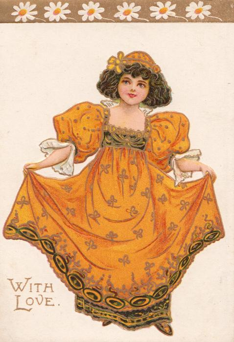 WITH LOVE in gilt, girl in orange dress stands holding up skirt with both hands, stylised daisies above