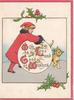WITH LOVE AND GOOD WISHES(W,L,G &W illuminated), girl in red leans over white plaque, cat, holly, 3 red margins