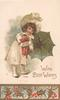 WITH BEST WISHES, girl stands left holding green umbrella & Japanese doll, snow scene, holly below