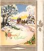 HAPPY CHRISTMAS with holly, stagecoach drives forward along snowy road, cottages, panel of gilt holly right, sunset
