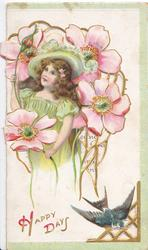 HAPPY DAYS in gilt, girl stands left surounded by exaggerated pink anemones, blue-bird of happiness & design below, 3 narrow green margins