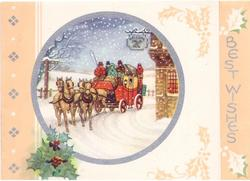 BEST WISHES silvered on peach panel right, silver framed circular inset of stagecoach in snow, holly