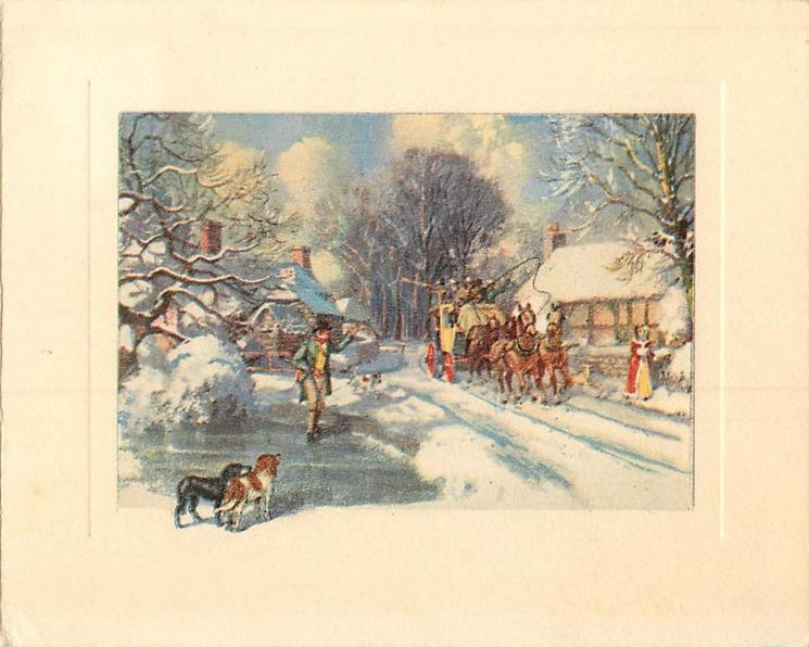 no front title, man waves to stagecoach that goes forward along snowy rural road, cabins & trees, dogs