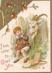 I HAVE COME TO GREET YOU in red & gilt, boy sits eating apple, goat wants some, apple design top left