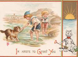 IN HASTE TO GREET YOU in red & gilt, children play with dog at edge of beach, anthropomorphic cat lower right