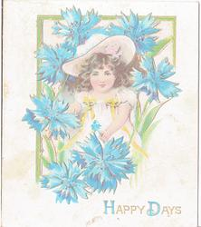 HAPPY DAYS girl wearing hat stands among flowers