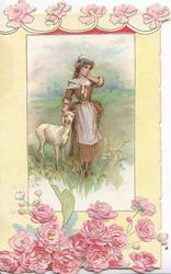 no front title, inset girl stands in meadow with white lamb at her side, mass of pink roses below, some above