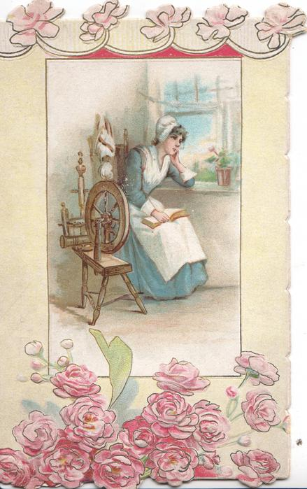 no front title, inset girl sits at window by spinning  wheel with book on her lap  mass of pink roses  below, some aboveclet of violets round her head