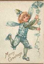 MERRY GREETINGS, girl in blue flowery costume & wings pulls forget-me-not string & 2 blue  bells