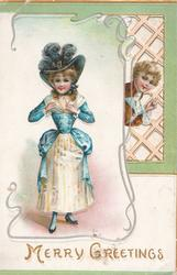 MERRY GREETINGS in gilt, young woman in blue & white stands left adjusting her dress, boy peeks through perforated trellis