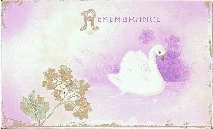 REMEMBRANCE swan in pond, purple background, stylized gilt flowers left