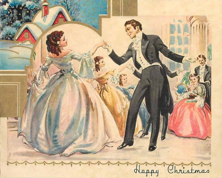 HAPPY CHRISTMAS couples in formal old style dress dance in rows, inset snowy rural scene with cottage behind