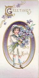 GREETINGS(G illuminated ) above perforated oval purple bordered inset of girl holding many exaggerated violets,
