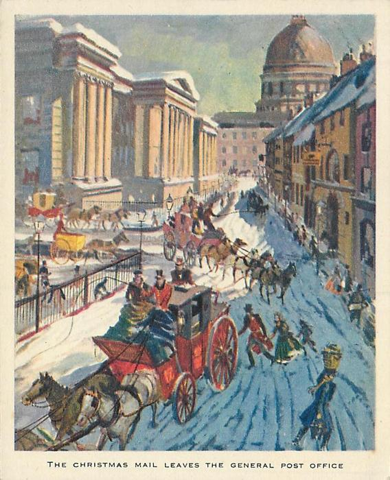 THE CHRISTMAS MAIL LEAVES THE GENERAL POST OFFICE busy snowy street with many stagecoaches, pedestrians & buildings