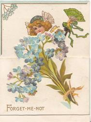 FORGET-ME-NOT below girl in deep blue dress facing front, fan in her raised left hand, partly behind forget-me-nots on front flap