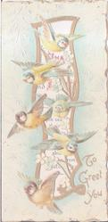 TO GREET YOU, six robins in flight in front of gilt design