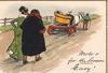 MOTOR FOR THE SEASON EASY! man and woman walk behind car on farm wagon