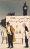 TAKE A GOOD TIP WHEN YOU GET IT waiter anxious for payment, background Big Ben clock & building