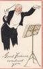 GOOD FORTUNE CONDUCT YOU conductor in evening dress, baton in hand
