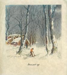 SNOWED UP 2 men shovel much snow on long tree lined rural road, cottages left