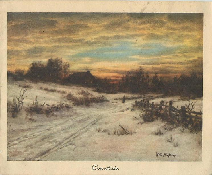 EVENTIDE snowy rural road at sunset, rickety wooden fence right, cottage distant left