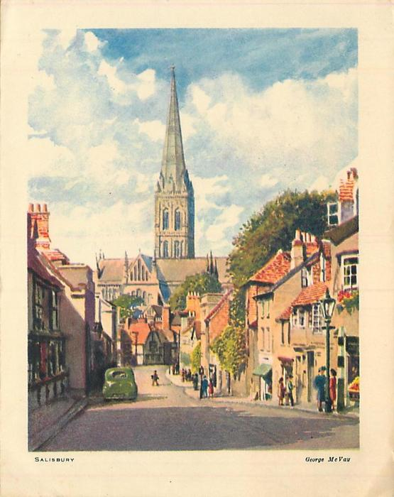 SALISBURY Cathedral in distant view behind village street scene