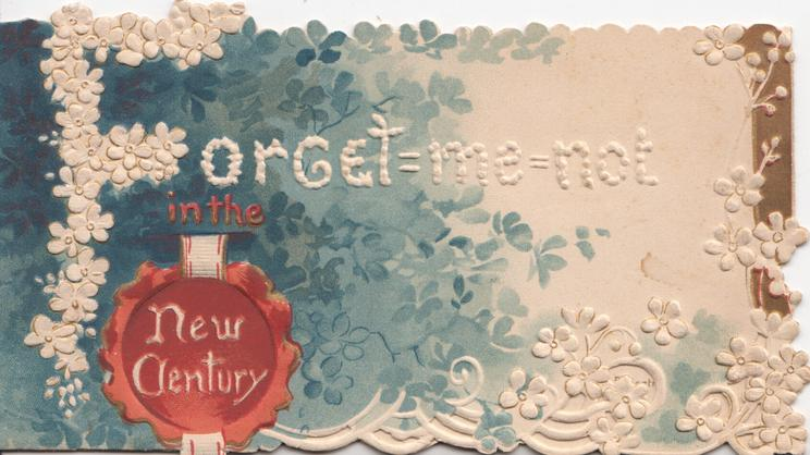 FORGET-ME-NOT IN THE NEW CENTURY white & blue forget-me-nots around, seal in red