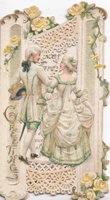 GREETINGS in gilt vertically left, man & woman walk away arm in arm gazing into each others eyes, elaborate design , roses