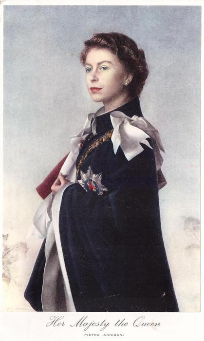 HER MAJESTY THE QUEEN faces left, wears dark blue robes
