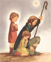 no front title, 2 children and shepherd kneel, facing right, single star (of Bethlehem) in sky