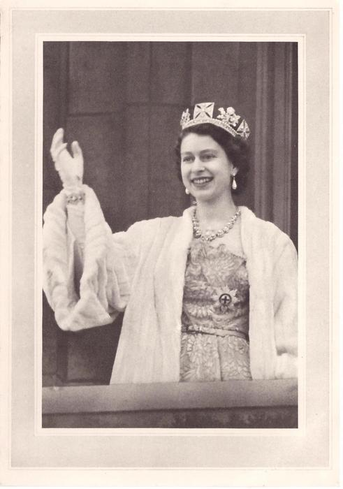 no front title, QEII stands on terrace, waving gloved right hand, white fur coat, grey border