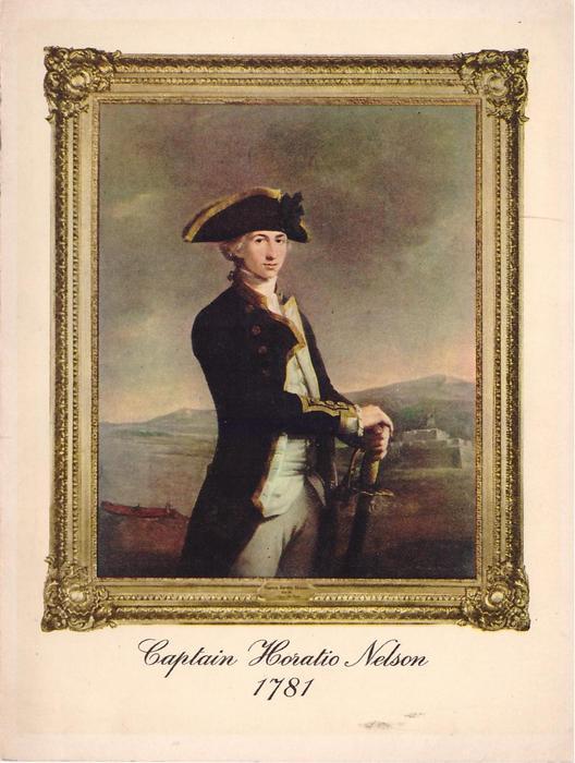 CAPTAIN HORATIO NELSON 1781 framed portrait, faces right & looks forward