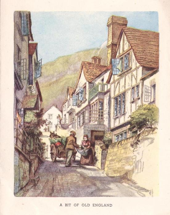 A BIT OF OLD ENGLAND woman & pedlar with horse drawn cart on cobble stone road, many residences