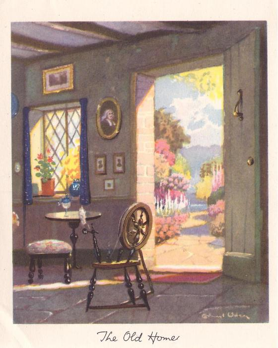 THE OLD HOME inside cottage view with spinning wheel & table near window, open door to path & garden