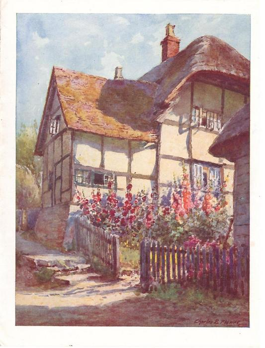 no front title, hollyhocks in garden with wooden fence, rear view of large cottage behind