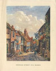 MERMAID STREET, RYE, SUSSEX on bottom border, many buildings, prominent clouds in sky