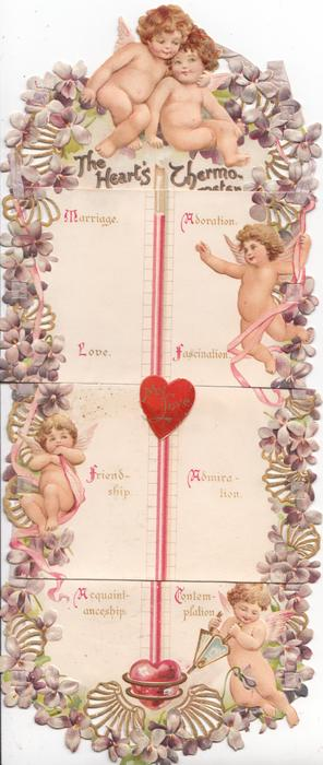 THE HEART'S THERMOMETER. MY LOVE(on 3rd.sheet),  5 nude cupids with violets
