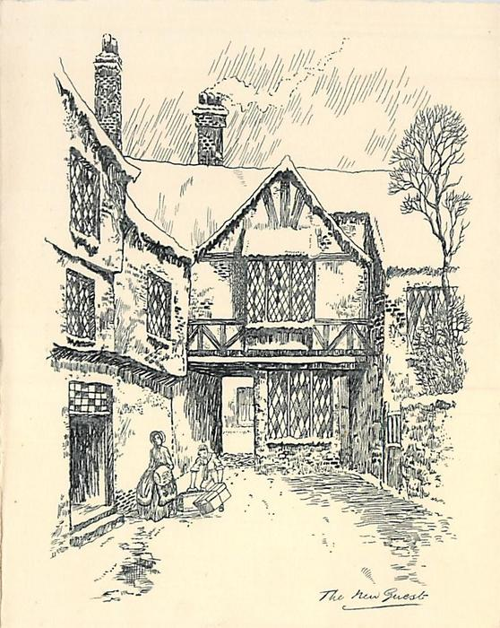 THE NEW GUEST village inn winter scene: boy helps woman with luggage, smoke from chimney