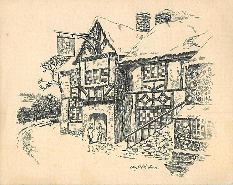 AN OLD INN front view in winter, two men drink in archway