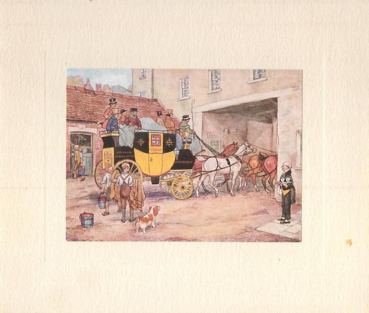 COACH & FOUR yellow & black stagecoach with 4 horses faces right, children with dog & butler with serving tray look on