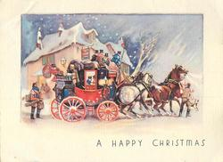 "A HAPPY CHRISTMAS ""ROYAL MAIL"" stagecoach faces right, stopping in front of post office, snow"