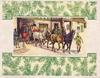no front title, oblong inset of stagecoach leaving coach yard, panels of evergreen boughs top & bottom