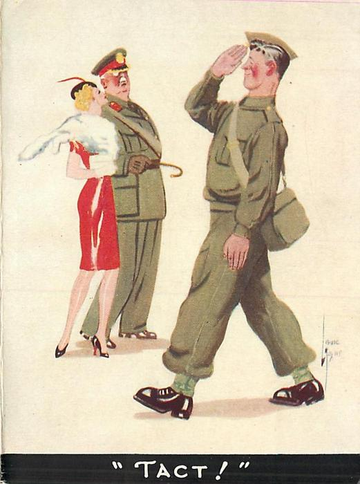 TACT! soldier salutes General walking with glamourous woman