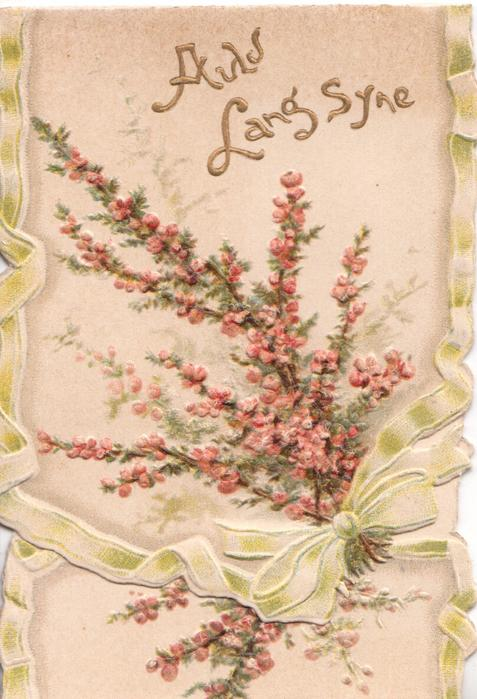 AULD LANG SYNE in gilt, pink/purple heather above printed bow, heavily embossed