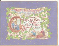 GLORY TO GOD IN THE HIGHEST, AND ON EARTH PEACE. GOODWILL TOWARDS MEN. nativity scene around text in inset