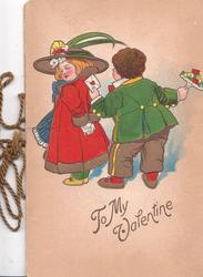 TO MY VALENTINE in gilt, below caricatures of dutch boy & girl standing facing away, he holds valentine & posy