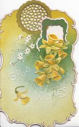 GOOD WISHES in white, green background to daffodils & small white flowers below circular perforated design & white panel